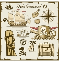 Pirate objects set vector image