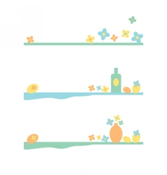 Set of dividers with flowers and still life vector