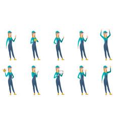 Set of mechanic characters vector
