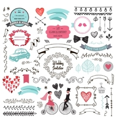 set of vintage hand drawn wedding design vector image vector image