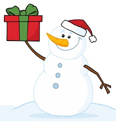 snowman holding a christmas gift vector image