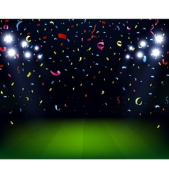 Soccer Stadium celebration with confetti on night vector image vector image