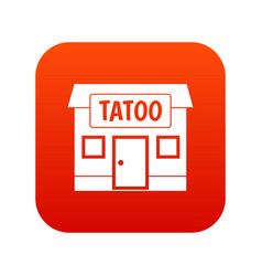 Tattoo salon building icon digital red vector