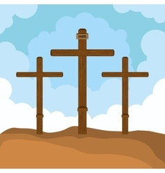 Three cross mount calvary design vector