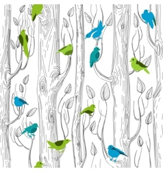 Trees and birds seamless pattern vector