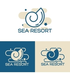 Sea shell logo set vector