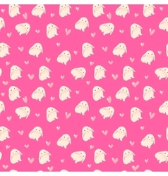 Cute rabbit and hearts  seamless vector