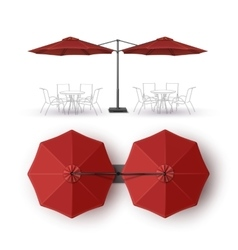 Red patio double outdoor cafe lounge umbrella vector