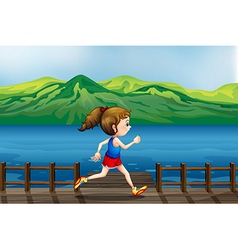 A girl running at the port vector