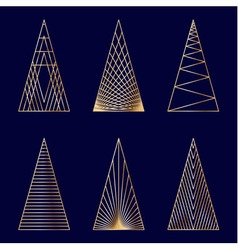 Set of linear graphic stylized Christmas trees vector image