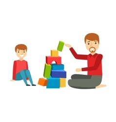 Father and a boy constructing from blocks happy vector