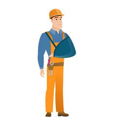 Injured builder with broken arm vector