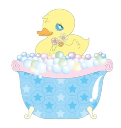 Baby duck in bathtub vector