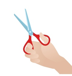 Hand with scissors against the white background vector