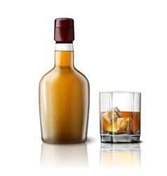 Blank realistic whiskey bottle with glass vector
