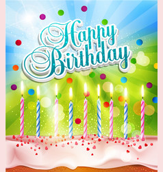 Background for birthday with a cake and candles vector