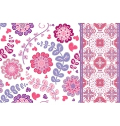 Set of vintage floral seamless pattern and border vector