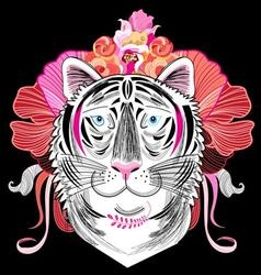 interesting graphic decorative portrait of a tiger vector image