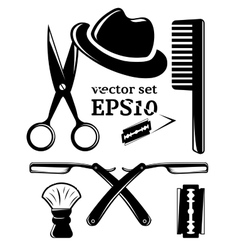 Barbershop accessory set vector
