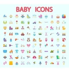 Baby flat icon set vector image