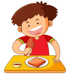boy eating chicken on table vector image