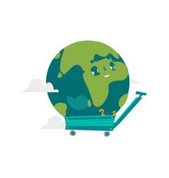 Cartoon flat globe character in a cart vector