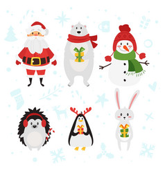 Christmas and new year characters vector