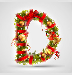 christmas font letter d of christmas tree vector image vector image