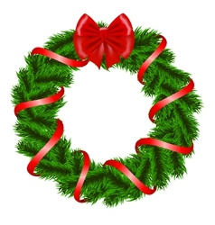 Christmas wreath with red ribbon vector image