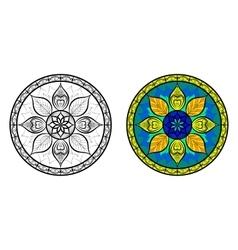 Color and black floral mandala set vector