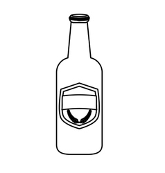 contour bottle of beer icon design vector image