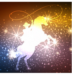 Cowboy on horse with lights background vector