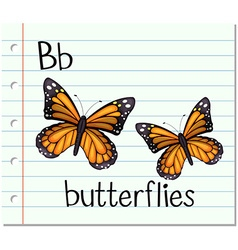 Flashcard letter b is for butterflies vector