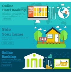 flat set of social business travel online banking vector image