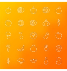 Fruit and Vegetable Line Icons Set over Blurred vector image vector image