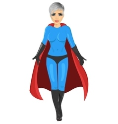 Girl in superhero costume walking forward vector