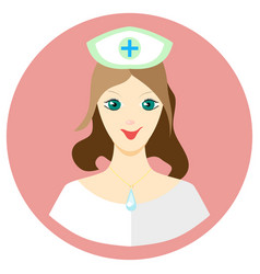girl nurse icon in a flat style image on a vector image