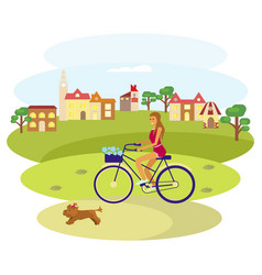 Girl rides a bike vector