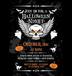 Halloween night party banner for october holiday vector
