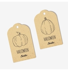 Halloween sale craft tags collection with outline vector
