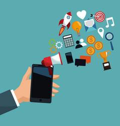 Hand holding mobile digital marketing vector