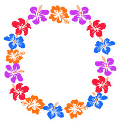hibiscus flowers circle with copy space vector image vector image