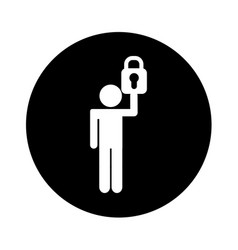 Human figure with safe padlock isolated icon vector