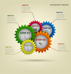 Info graphic with abstract colored gears template vector