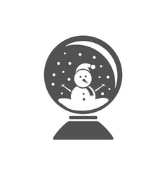 Isolated crystal ball icon with snow and snowman vector
