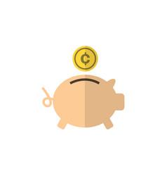 isolated piggy bank flat icon money box vector image