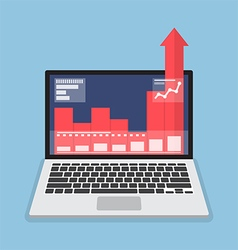 Laptop with business graph growth out from monitor vector image