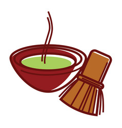 Matcha tea in bowl with bamboo tea whisk vector