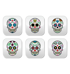 Mexican sugar skull dia de los muertos buttons se vector