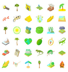nature rest icons set cartoon style vector image
